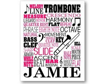 Trombone Typography Poster Print, Trombone Player Art, Trombonist Wall Art Poster, Trombonist Gift, Trombone Canvas, Trombone Player Gift