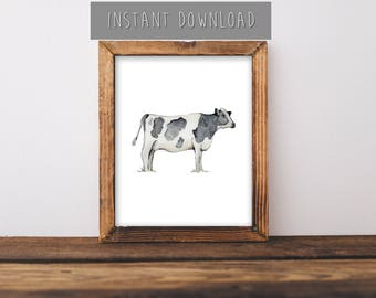 """Instant Download Painting, Farmhouse Wall Art, Cow Painting, Cow Art, Farm Animals, Farm Animal Painting, Animal Room Decor, 8x10"""""""