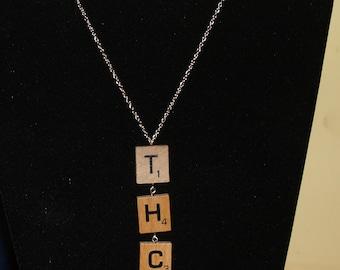 Handmade Scrabble THC Gold Necklace
