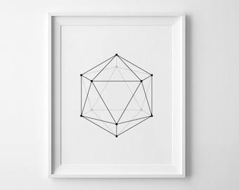 "Geometric Wall Art, Printable Poster, Black and White Print, Modern Decor, Abstract Print, Geometric Poster, Hexagon Print, 50x70 cm 18x24"""