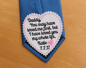 Personalized Wedding tie patch, I loved you my whole life, heart tie label, Gift for Dad, Father of the Bride Gift. iron-on available, TLH13