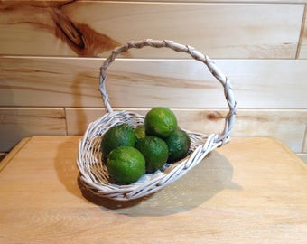 White Wicker Basket, Wedding Basket with Handle, White Handle Basket, Rustic Home Decor, Shabby Chic Decor, White Cottage Decor