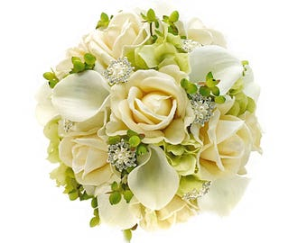 Stemple's Gatherings- A grouping of Artificial White Calla Lilies, Ivory Roses,Hydrangea,Hypericum,Rhinestones- In a vase or as a bouquet