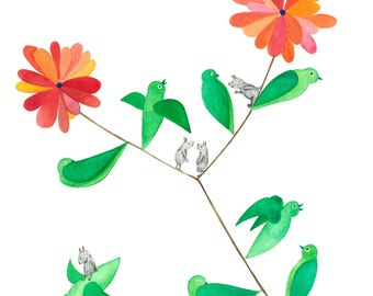 Leafy Birds -Original watercolour and ink illustration by Nana Sakata
