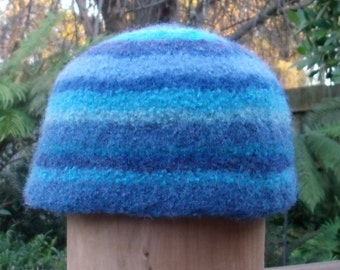 Felted Blue Striped Hat