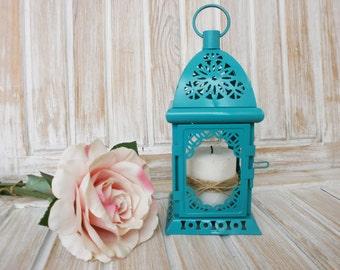 Turquoise Lantern Wedding Lantern Distressed Lantern Rustic Candle Holder Wedding Decor Centerpiece