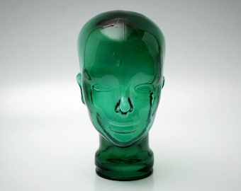 vintage Clear Glass Mannequin Head Hat Display Green Home Decor