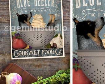 Australian Cattle dog Blue heeler Dog Kitchen artwork chef cooking dog illustration in UNFRAMED print by Stephen Fowler
