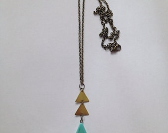 Brass & Turquoise Arrow Necklace
