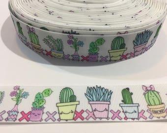 "3 Yards of 1"" Ribbon - Cactus Succulents"