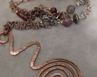 Copper Pendant Necklace, Assorted Metals Chain, Beaded Chain, Recycled, Hammered Copper Pendant, Art Deco, Unique Pattern, Shiny Finish