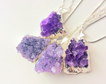 Amethyst Druzy Necklace, silver plated