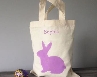 Bunny mini tote bag, 100% cotton canvas. personalised Easter basket, hand painted, burlap, rabbit gift for little girl daughter niece