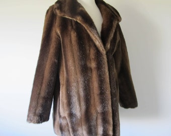 Vintage LIKE REAL FUR Glossy Faux Fur Quality Chocolate Jacket Coat M  L