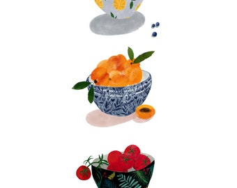 Fruit Bowl Kitchen Art Print A4 - Wall art, food illustration Home decor, Wall Art for the home, Kitchen Decor, Food print, Katy Pillinger