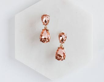 Peach Rhinestone Drop Earrings, Rhinestone Earrings, Crystal Earrings, Sparkle Earrings, Earrings, Bling, Party Earrings