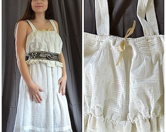 Antique Victorian White Cotton Pin Tucks and Lace Camisole Sz L Bust to 46 Inches