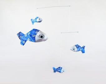 Mobile origami 5 baby blue Japanese paper fish patterned water waves flowering for home decor