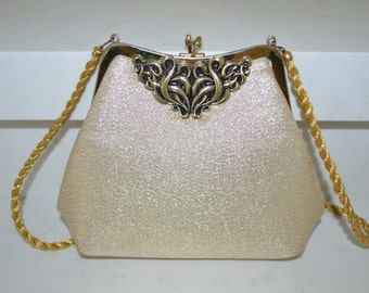 Vintage Gold Lamé Evening Purse With Gold Frame, Gold Braided Strap, and Gold metal Embellishment - 1970s