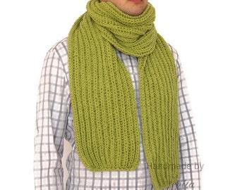 Lime green wool scarf men, Scarf Men, Hand knitted mens scarf, Mens Scarf in Olive green