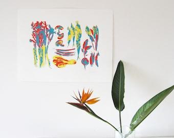 Cute Kitchen Art Blue Orange Yellow Vegetable Silkscreen Wall Print 20x26