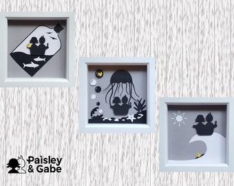 Set of 3 Box Frames | Bathroom Art | Original Artwork | Kids Bathroom | Card Craft | Ocean | Bathtub | Surfing | Jellyfish | Ship in Bottle