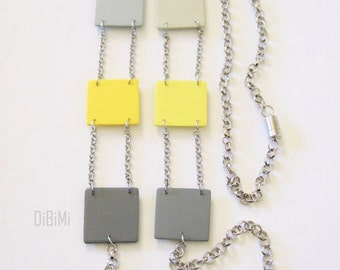 Modern geometric wooden necklace- long necklace- square in yellow and gray - modern, contemporary, minimalist handmade jewelry- eco friendly