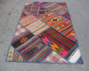 "VINTAGE PATCHWORK KILIM 58"" X 34"" ,kilim rug patchwork free shipping rug"