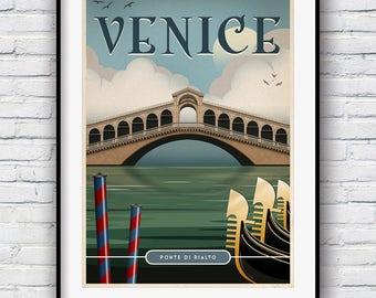 Venice Print, Retro Poster, Venice Poster, Italy Print, Travel Poster, Rialto Bridge, Vintage Poster, Venice Decor, Travel Prints, Poster