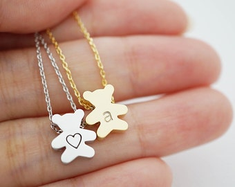 Personalized Teddy Bear Necklace, initial Necklace, Dainty letter necklace, monogram jewelry, Christmas gift stocking stuffers