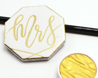 Gold + White Tile Calligraphy Wedding Event Place Cards