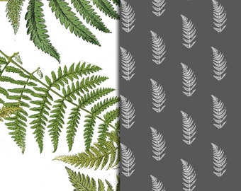 Green and Gray Fern Pattern Sheets