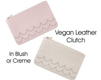 Ava Vegan Leather Clutch in Blush or Creme