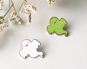 Happy Ghost Enamel Pin (White Ghost and Glow in the Dark Ghost Variants)