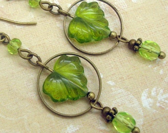 Boho Chic Earrings with Green Leaves and Brass Hoops