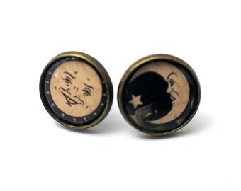 Sun/Moon Ouija Board Symbols 12mm bronze stud earrings