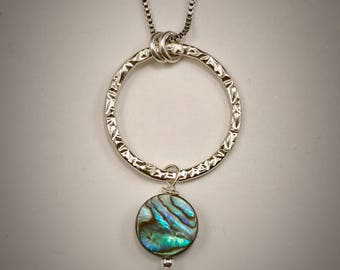 Large stamped circle necklace with abalone shell