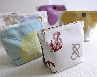 Simple makeup bag - small cotton cosmetic bag. ocean pattern flower pattern pouch
