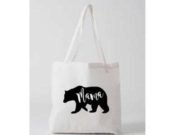 SALE Mama Bear Tote Bag White Black American Apparel Natural Papa Bear Baby Bear Mom Shirt Mothers Day Gift Bag Rose Gold Glitter