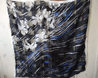 vintage designer extra large polyester scarf  Valentina black white and blue abstract floral slightly sheer 34 x 34 inches