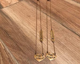2 best friends brass necklaces