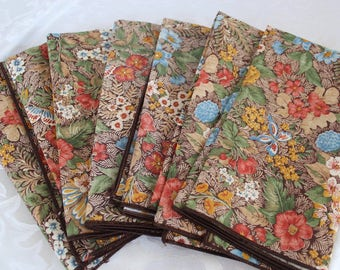 Vintage Cloth Napkins - Butterflies - Flowers - 7 Napkins