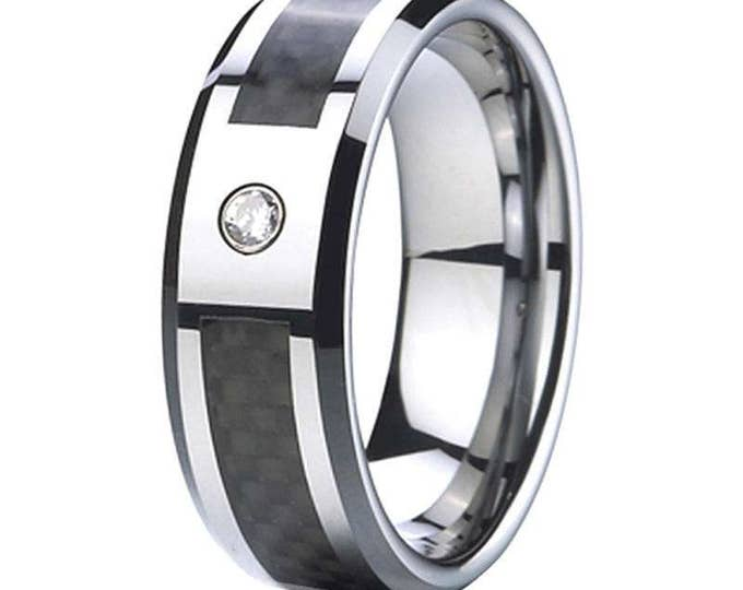 8 mm  1 Cubic Zirconia (CZ) Black  Carbon Fiber Tungsten Carbide Men's /Women's Ring Band Sizes 6-15 - Comfort fit