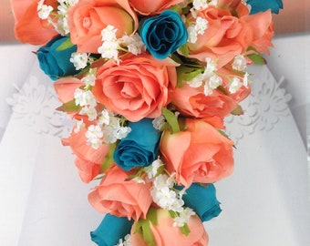 "New Artificial Coral and Malibu Wedding Teardrop Bouquet, 15"" in length. Malibu and Coral Bouquet"
