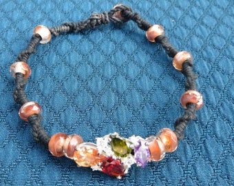 Multi color with pink glass bracelet