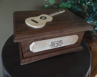 Wood Cremation Urn with Guitar or other Personalized Applique - Urn for Human Cremation Ashes for Funeral, Memorial or Celebration of Life