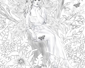 Fairy - Printable Adult Coloring Page from Favoreads (Coloring book pages for adults and kids, Coloring sheets, Coloring designs)