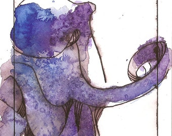 "Octopus Painting - Whispering Octopus  - Fine Art Giclee Print 5/50 of 4""x6"" Blue and Purple Watercolor"