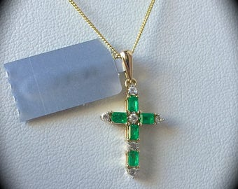 Columbian Emerald and White Sapphire Pendant 9ct Yellow Gold  'CERTIFIED' Fabulous Colour & Glow!