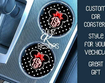Disney Coaster, Cup Holder Coaster, Car Coaster, Disney, Car, Minnie Mouse, Road Trip, Disney, New Driver Gift, Disney Lover,Disney Monogram